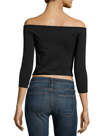 Off-the-Shoulder Fitted Top, Black