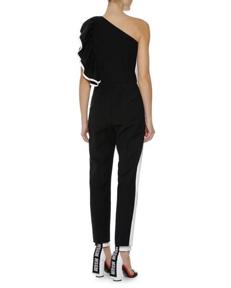 One-Shoulder Ruffle Jumpsuit, Black
