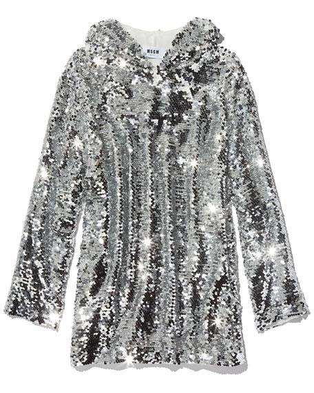 Sequin Long-Sleeve Hoodie Top, Silver