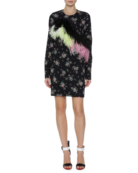 MSGM Floral Print Sheath Dress w/ Feather Trim,
