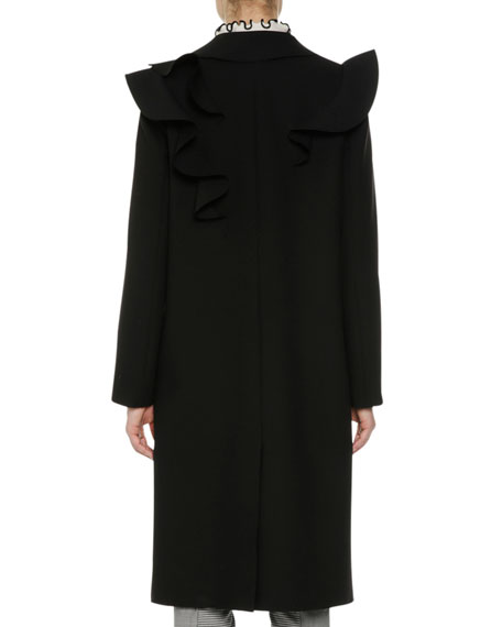 Long Ruffled Coat, Black