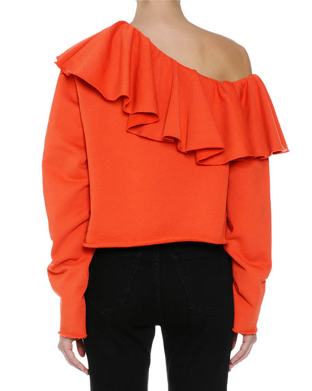 Ruffled One-Shoulder Long-Sleeve Sweatshirt, Orange