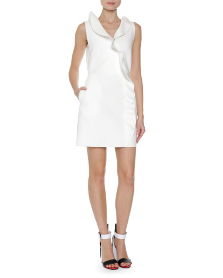 Ruffle Front Sleeveless Sheath Dress, White