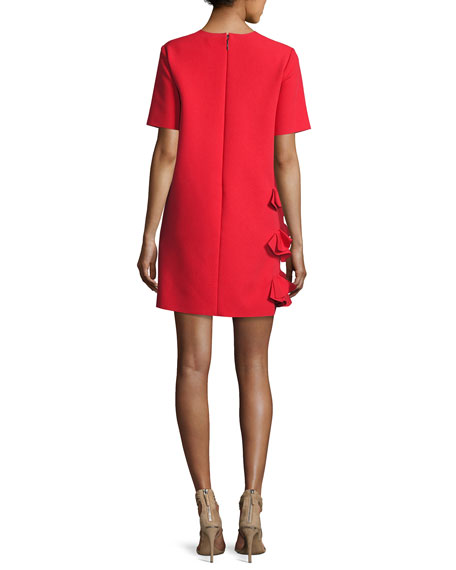 Ruffle-Front Short-Sleeve Crepe Dress, Red