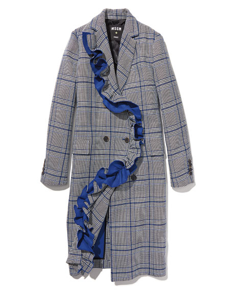 Plaid Ruffled Coat, Multipattern