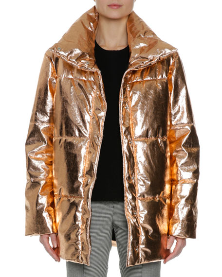 MSGM Metallic Quilted Puffer Coat, Gold