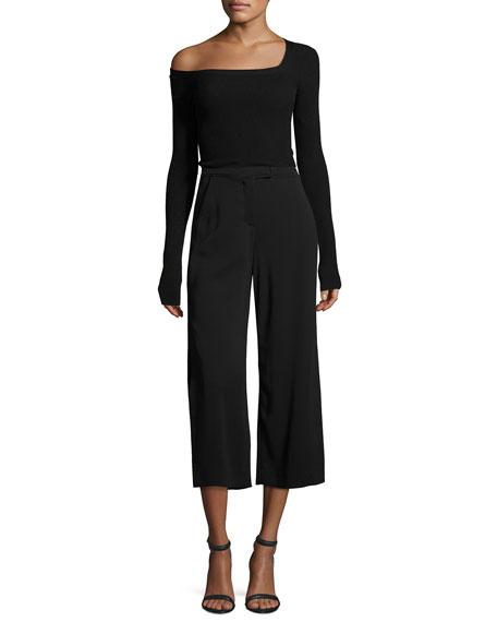 Aria One-Shoulder Long-Sleeve Sweater, Black