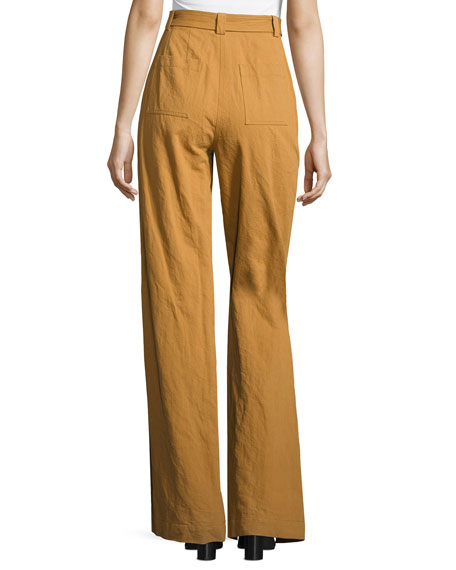 Trek High-Waist Belted Wide-Leg Pants, Biscotti