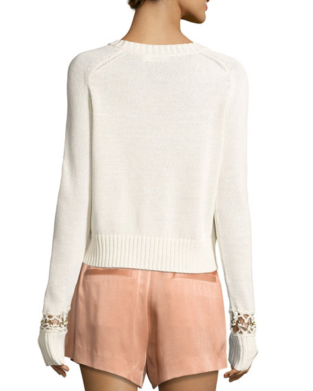 Dree Cotton Pullover Sweater w/ Bracelet Detail, Ivory