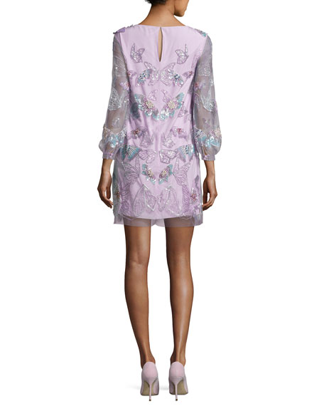 3/4-Sleeve Tulle Butterfly Tunic Cocktail Dress, Lilac
