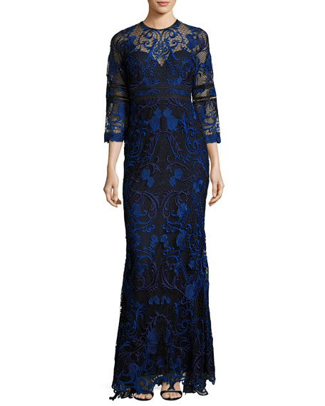 3/4-Sleeve Floral Lace Gown, Navy