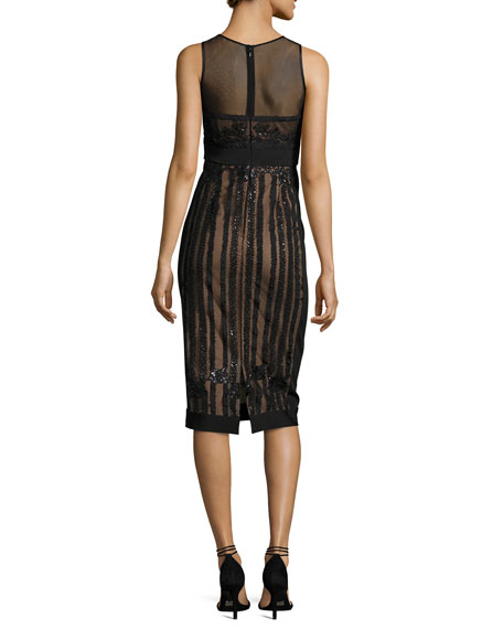 Sleeveless Embellished Semisheer Sheath Cocktail Dress, Black