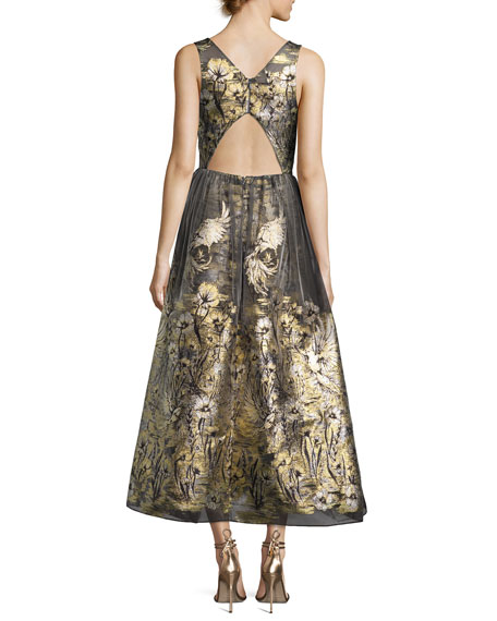 Sleeveless Floral Lamé Fil Coupe Cocktail Dress, Gold