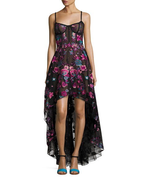 Marchesa Notte Sleeveless Embroidered Tulle High-Low Gown, Black