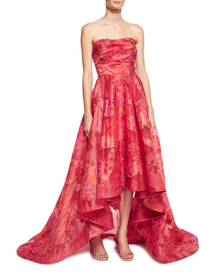 Marchesa Notte Strapless Floral Fil Coupe High-Low Gown,