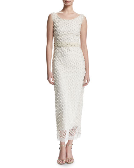 Marchesa Notte Sleeveless Netted Beaded Midi Gown, Ivory