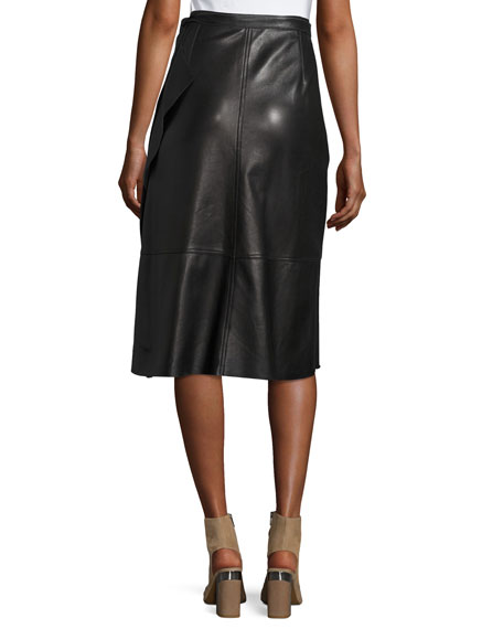 Leather Ruffle A-Line Midi Skirt, Black