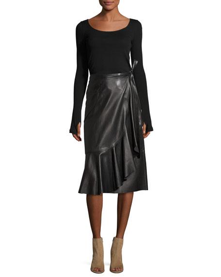 Leather Ruffle A-Line Midi Skirt, Black