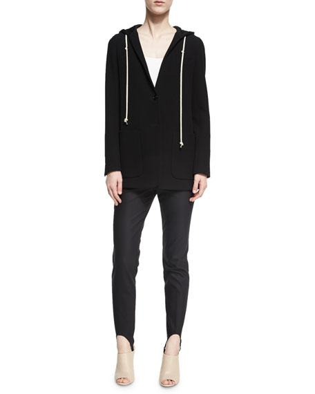 Hooded Single-Button Longline Blazer, Black