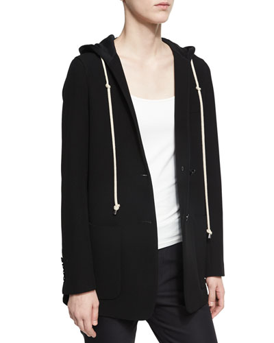 Hooded Single-Button Longline Blazer, Black