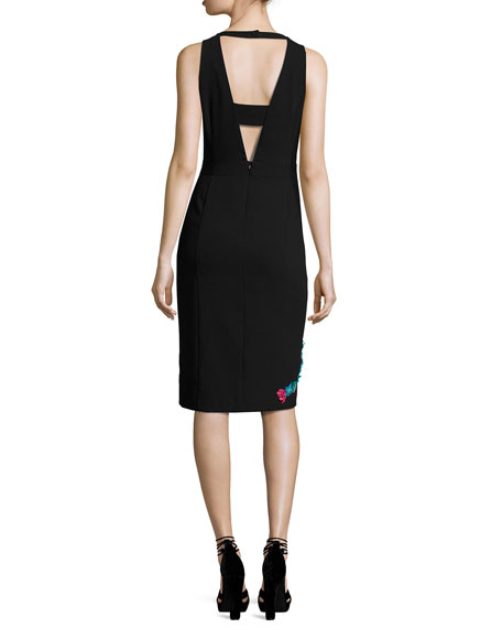 Bellefleur Sleeveless Embellished Stretch Crepe Cocktail Dress, Black