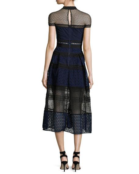 Crosshatched Raglan Paneled Midi Dress