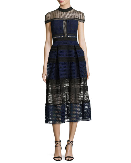 Self-Portrait Crosshatched Raglan Paneled Midi Dress