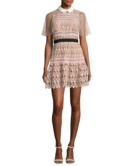 Self-Portrait Floral-Lace Vine Cape Mini Dress, Blush