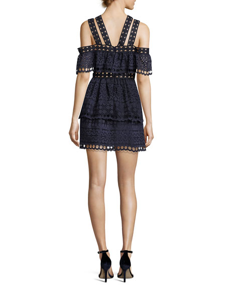 Embroidered Off-the-Shoulder Tiered Mini Dress, Navy