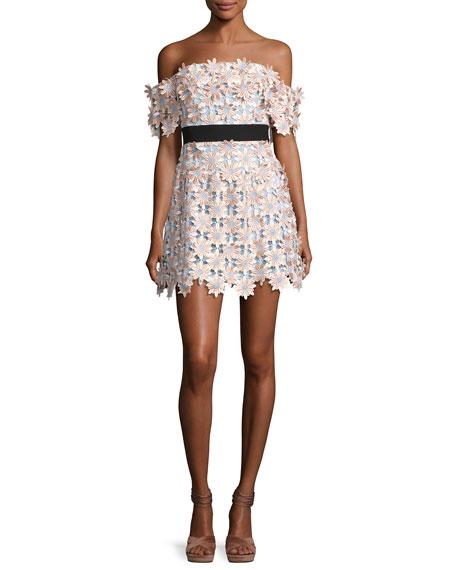 Off-Shoulder 3-D Floral Mini Dress, Pink