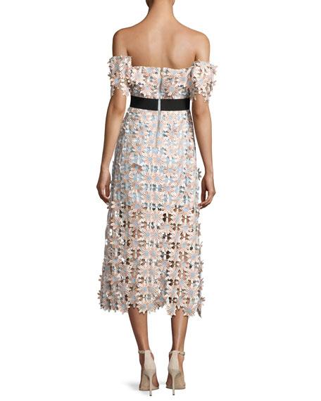 Off-Shoulder 3-D Floral Midi Dress, Pink
