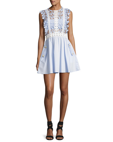 Floral Vine Mini Dress, Blue