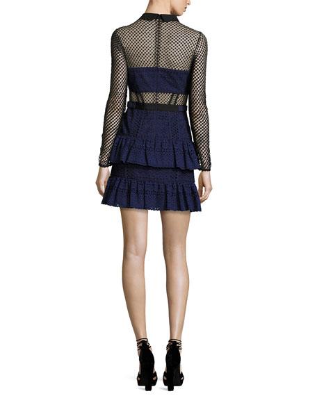 Hazel Cotton Mini Dress, Navy