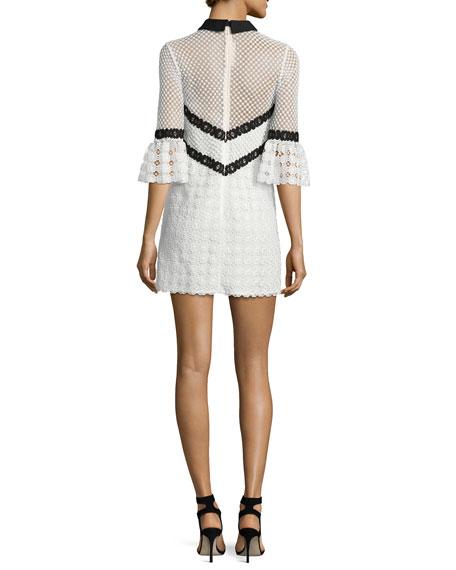 Petal Monochrome Mini Dress, Black/White