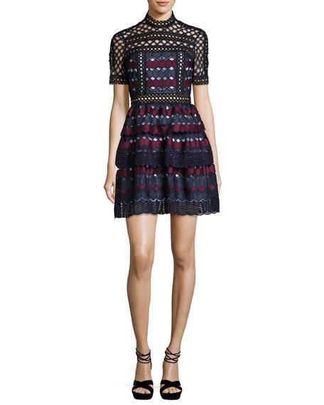 Hexagon Lace Mini Dress, Multi