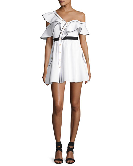 Poplin Frill Asymmetric Mini Dress, White