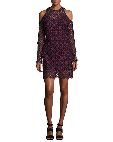 Floral Grid Cold Shoulder Dress, Multi