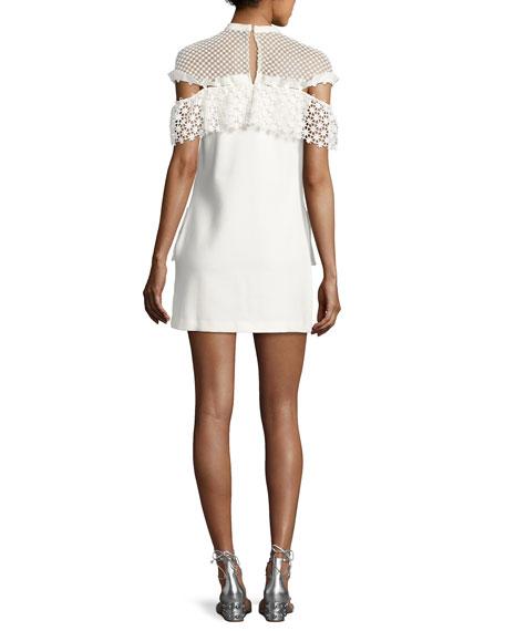 Mixed Floral Frill Mini Dress, White