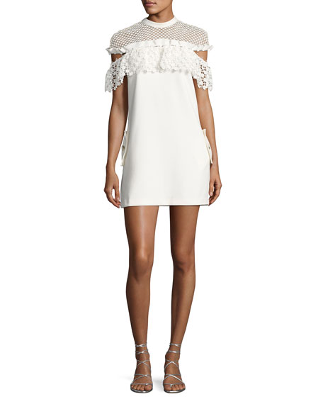 Self-Portrait Mixed Floral Frill Mini Dress, White