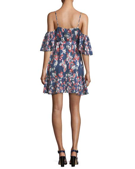Amylia Floral-Ikat Silk Stripe Short Dress