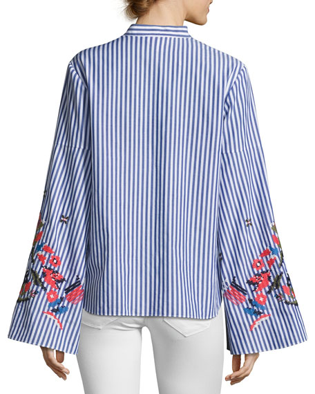 Klara Embroidered Menswear Stripe Top, Blue/White