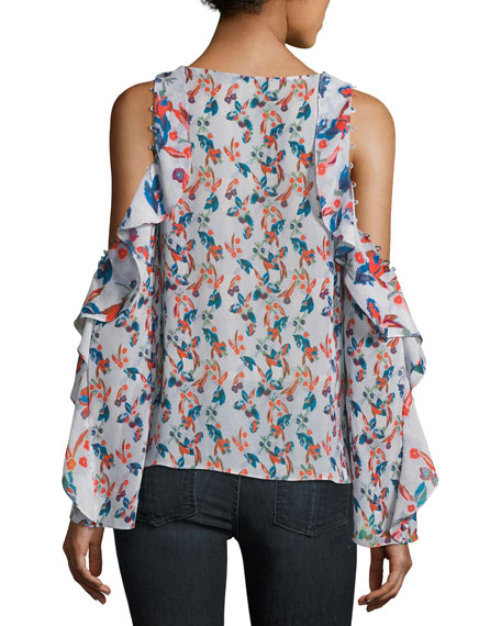 Corrine Floral-Ikat Gauze Silk Top, Lavender
