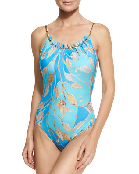 Gottex Capri Round-Neck One-Piece Swimsuit, Blue
