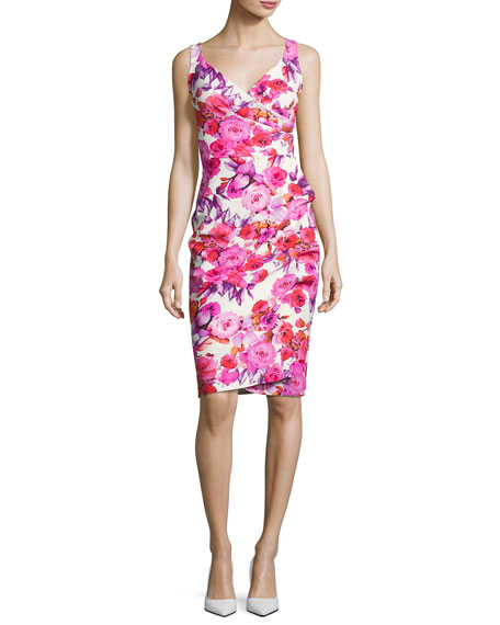 Timotea Sleeveless Ruched Floral Jersey Cocktail Dress, Pierre