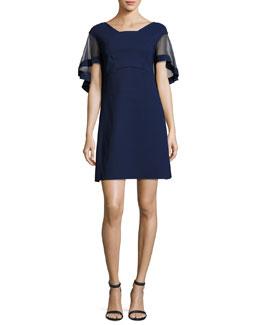Jason Flutter-Sleeve Cocktail Dress, Navy