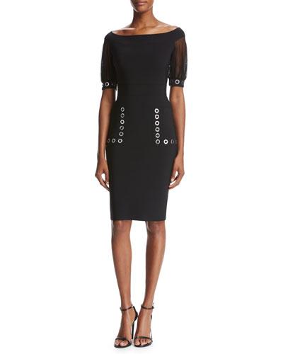 Galena Short-Sleeve Grommet Jersey Cocktail Dress, Black