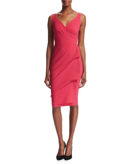 Timotea Sleeveless Draped Cocktail Dress, Red