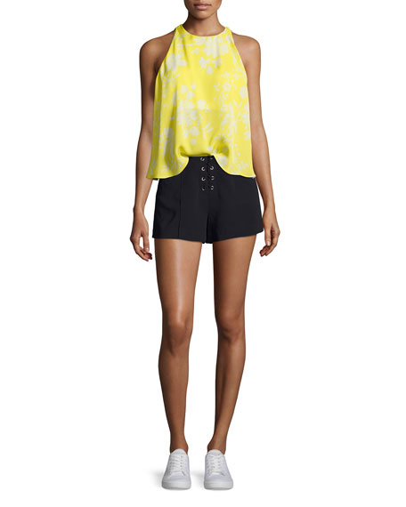 Jasper Silk Sleeveless Top, Yellow Pattern