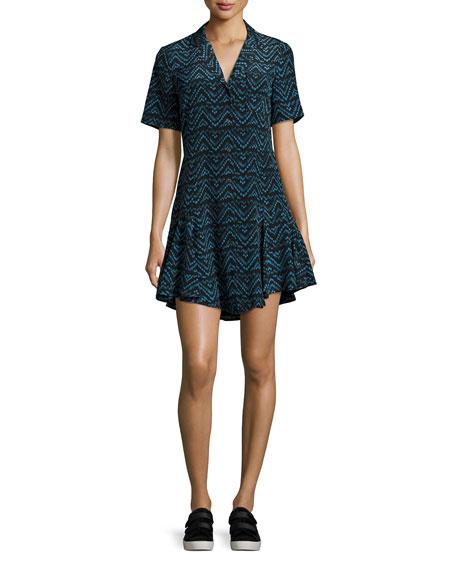 Kayden Printed Button-Front Silk Shirtdress, Blue Pattern