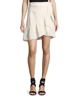 Hampton Wrap-Front Mini Skirt, White